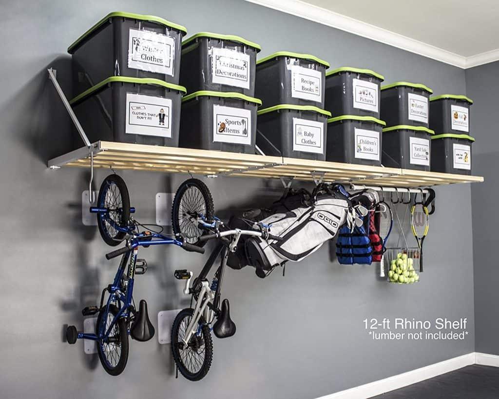 Garage Storage Ideas - a wall-mounted shelf made by RhinoShelf