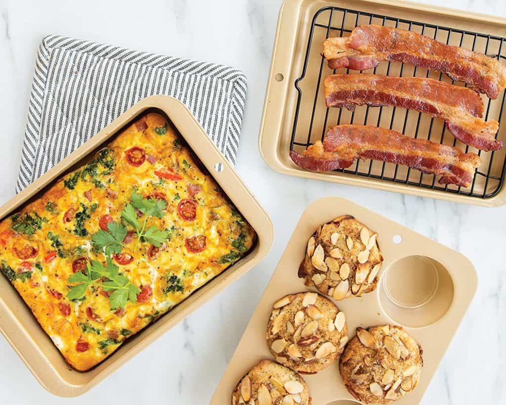 Compact ovenware like this set from Nordic Ware makes great RV kitchen organization accessories