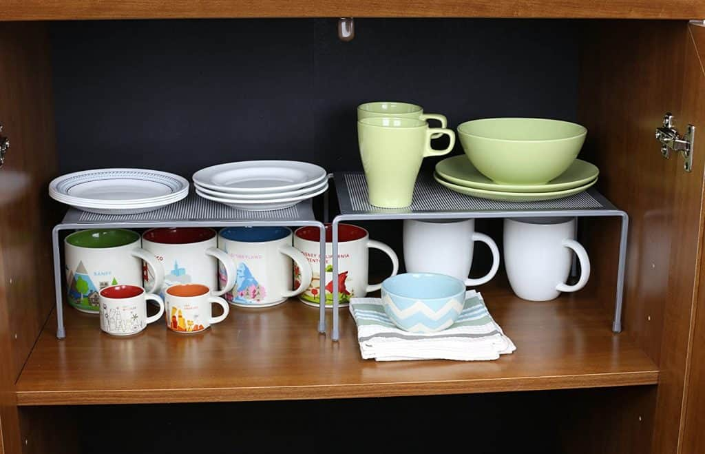 stackable shelves like this are great rv kitchen accessories.