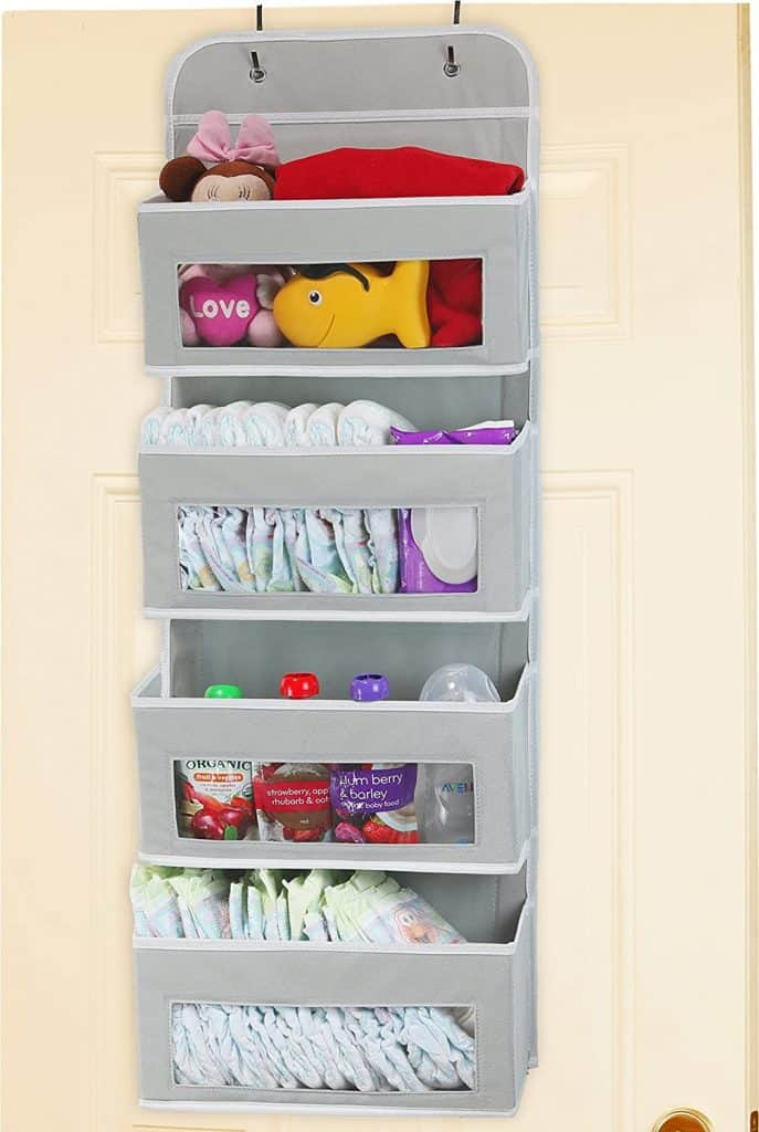 This 4 pocket hanging organizer from Simple Houseware makes a great RV organization accessory because it allows you to use otherwise wasted space.