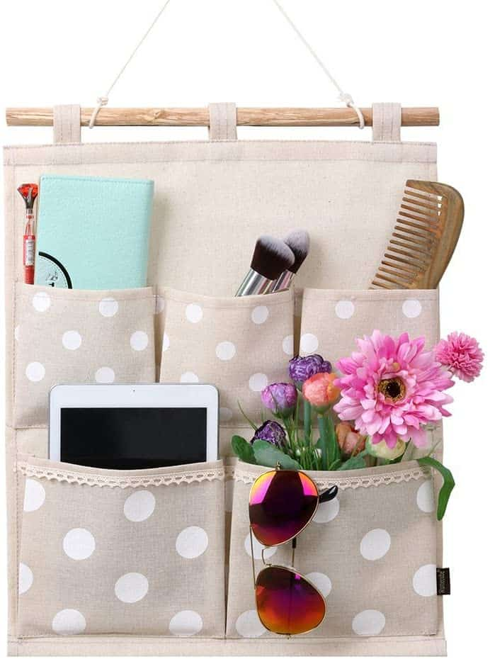 A cloth hanging organizer like this helps you organize your RV bedroom with ease and style