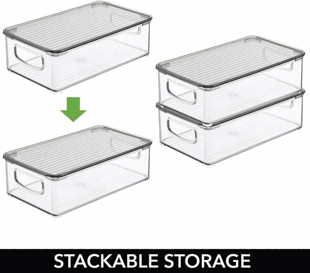 Stackable plastic bins for RV organization