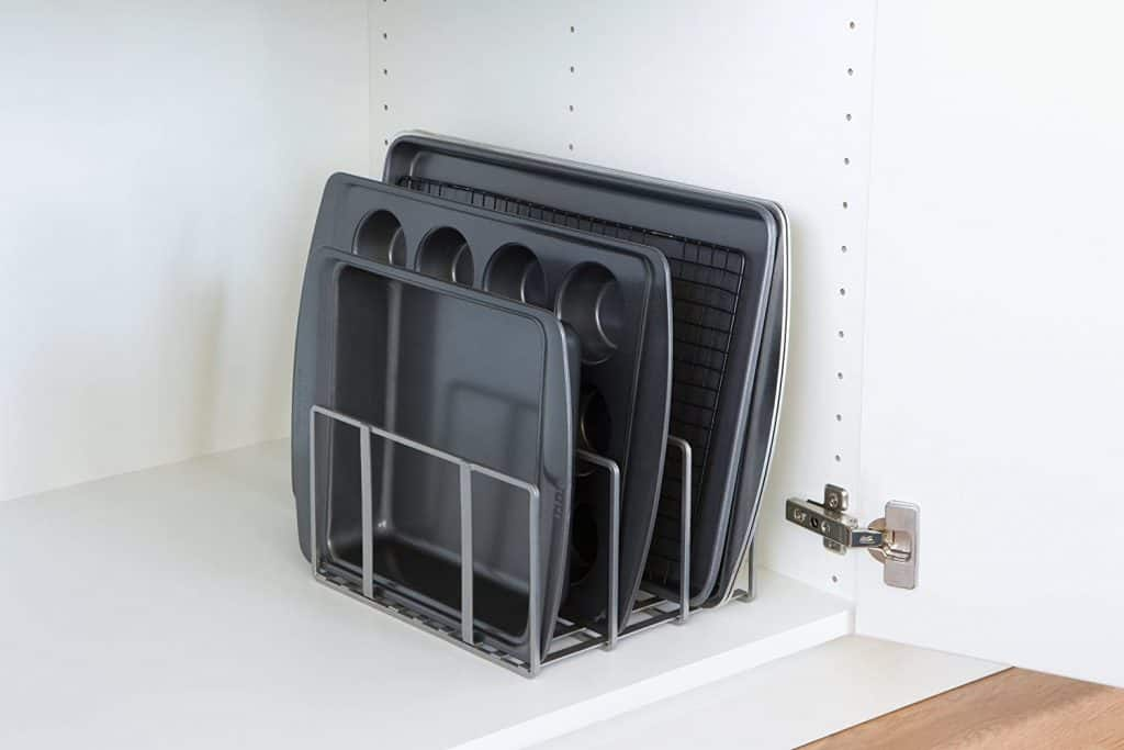 A lid organizer like this makes a great rv kitchen accessory