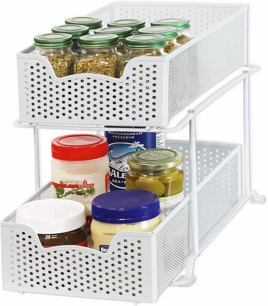A sliding basket organizer like this can help you organize your RV kitchen (or you can use it under sinks)