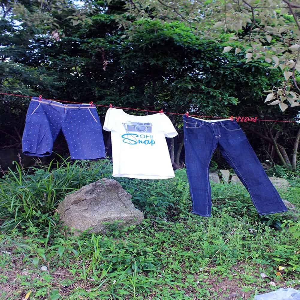 Travel clothes line is an rv organization accessory because it provides a spot to hang wet clothes outside...and not in the shower.