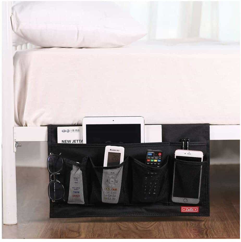 Bedside caddy like this will help you organize your RV bedroom
