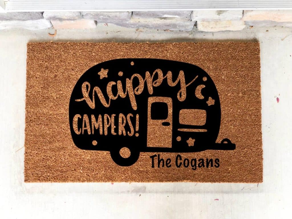HOw to make your RV look like a home - add a welcome mat