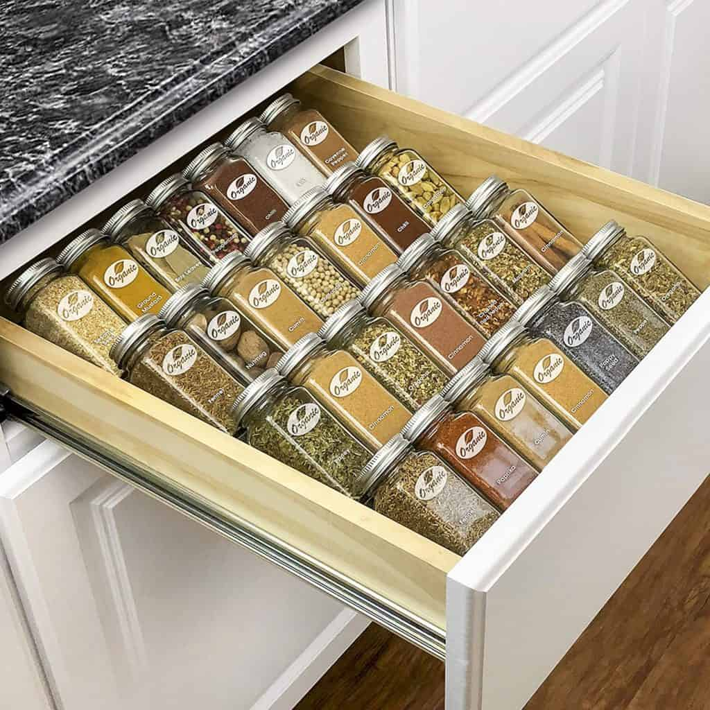 How to organize spices in your drawer - use a spice organizer insert like this one from Lynk
