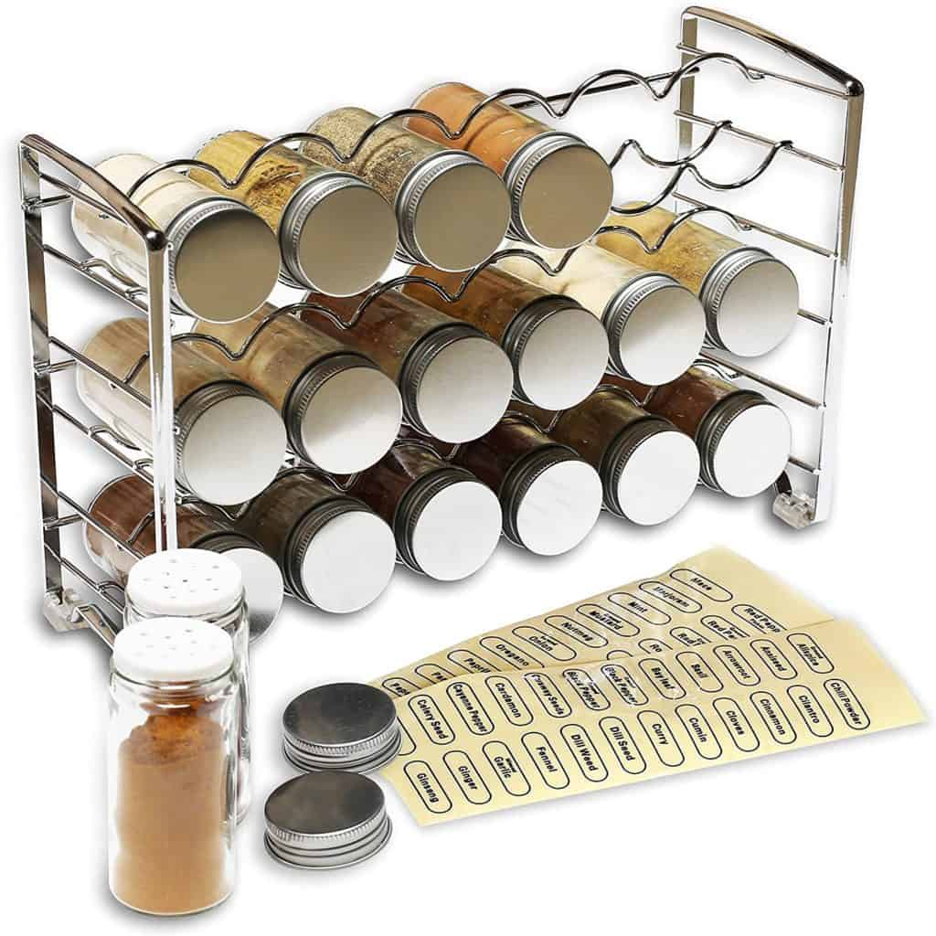 How to organize spices - 18 bottle chrome spice rack stand by Decobros.  Spice storage ideas for your countertop.