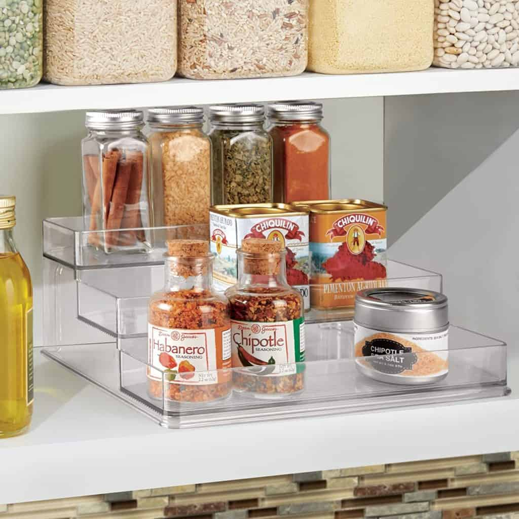 How to organize spices in your kitchen cabinets or countertop - you could use a 3 tier spice rack like this one from iDesign