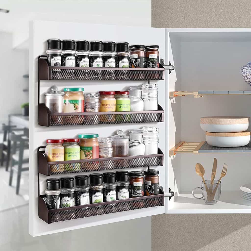 How to organize spices - these 2 tier spice racks can be wall mounted or put on counter