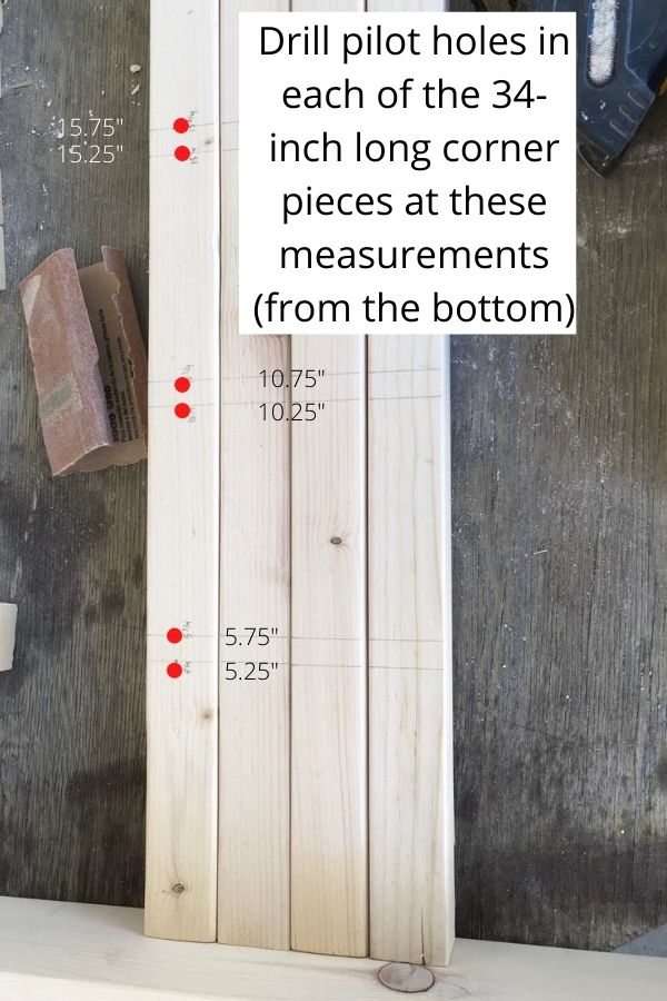 Building a toddler helper stool - need to drill the pilot holes in the wood first so you don't split the wood. How to build a toddler kitchen helper stool