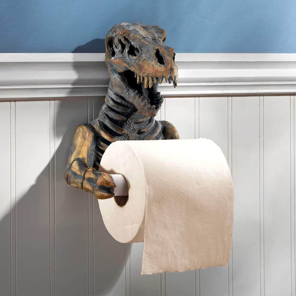 Toilet paper holder ideas - a unique Trex skeleton novelty toilet paper holder
