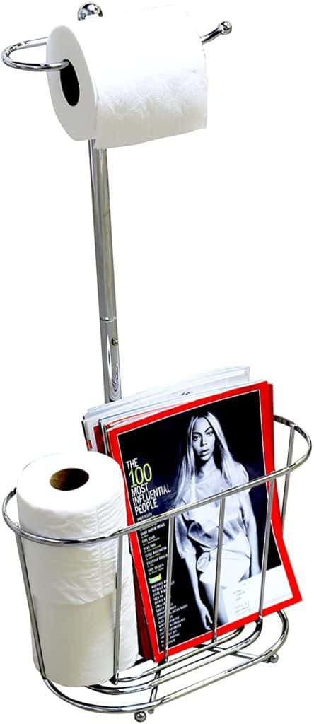 toilet paper holder ideas - floor stand with magazine basket at teh bottom
