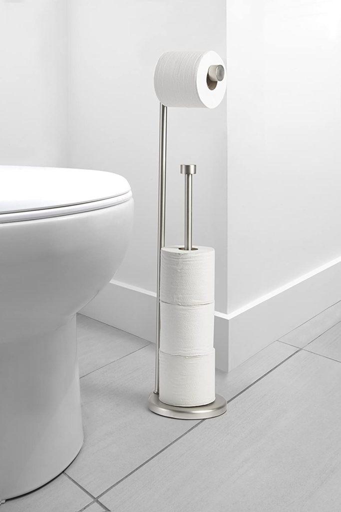 Toilet Paper Holder Ideas - dual pole free standing toilet paper holder has a pole for storing extra toilet paper
