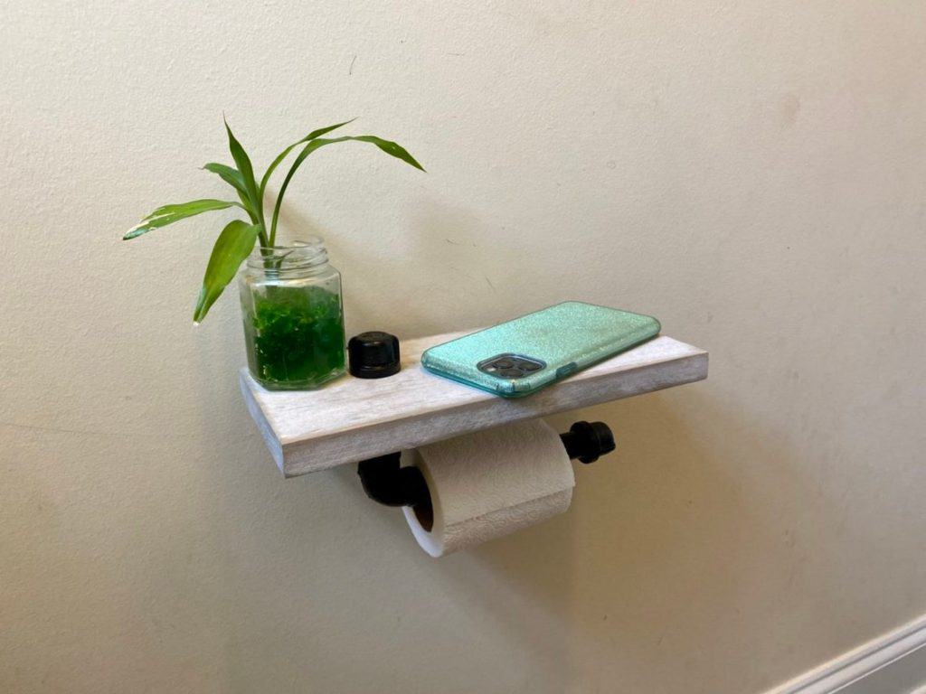 toilet paper holder ideas - industrial pie with wood shelf
