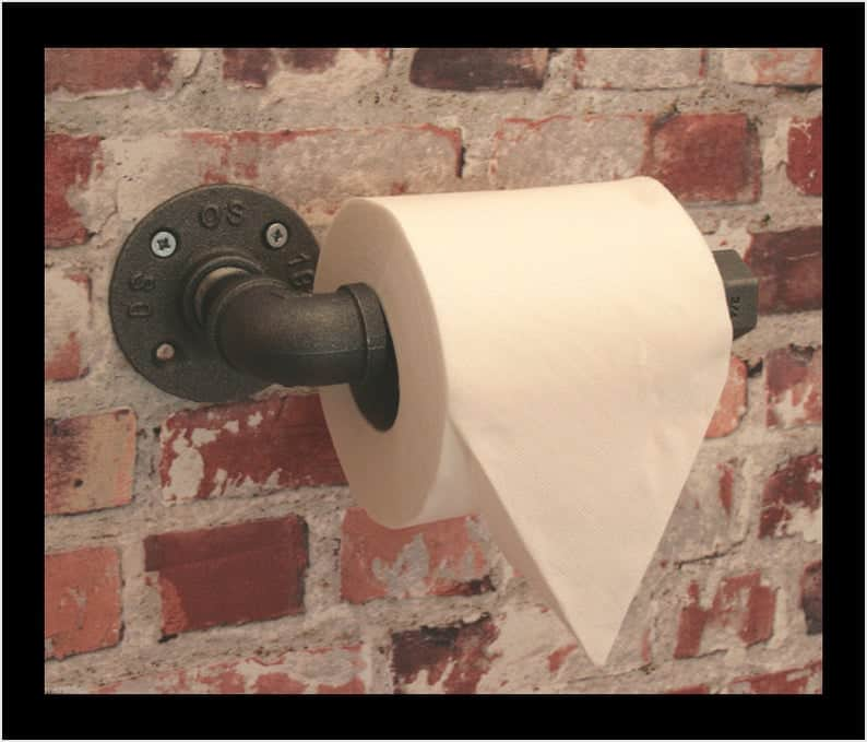toilet paper holder ideas - industrial pipe holder available on Etsy