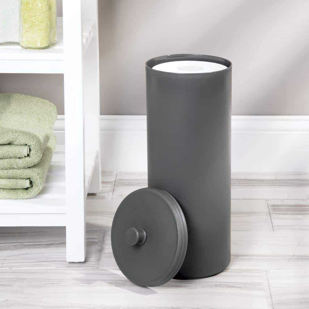 Toilet paper storage tube for extra rolls of toilet paper by mDesign