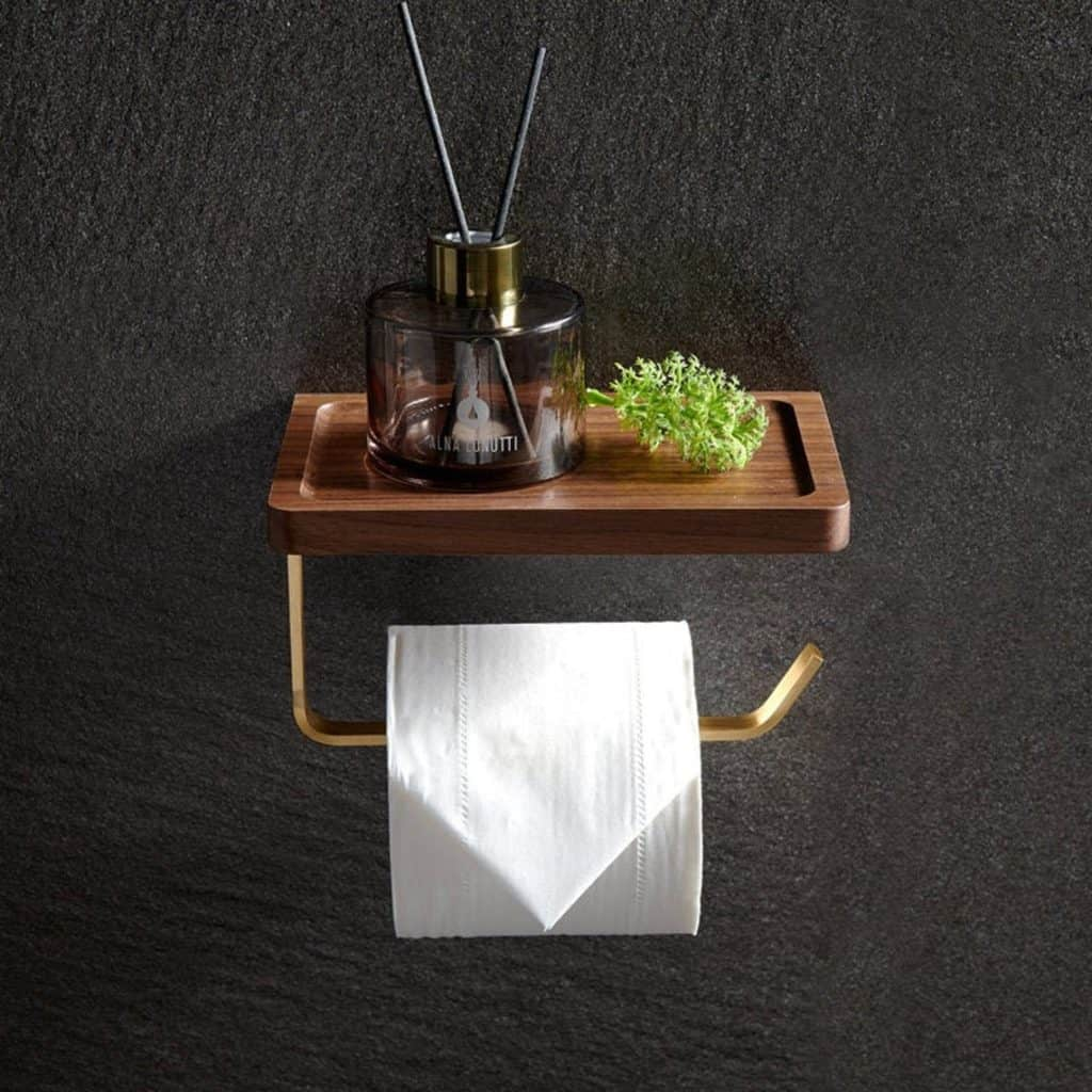 toilet paper holder ideas - elegant wood and  metal toilet paper holder by EverDreamCraft on Etsy