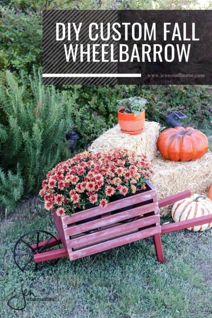 DIY Fall Decor = a rustic wooden wheelbarrow