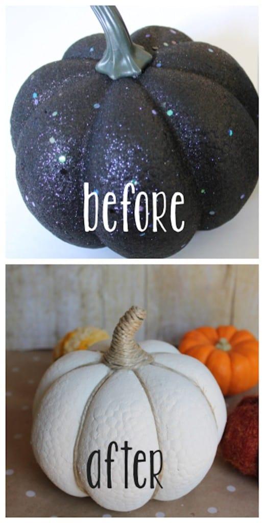 DIY Fall Decor Ideas  - cheap craft pumpkin makeover
