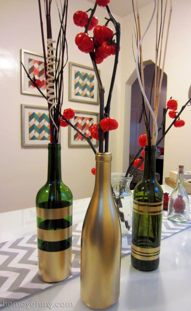 DIY Fall Decor Ideas - spray painted wine bottles make good vases
