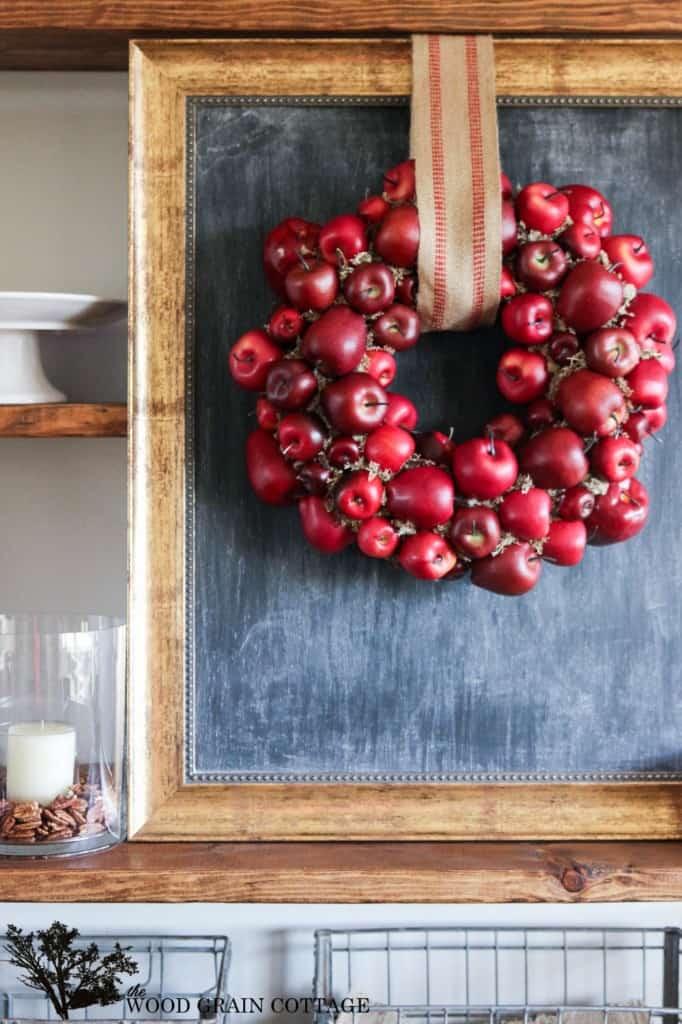 Fall DIY wreath ideas - colorful craft apple wreaths with burlap hanger