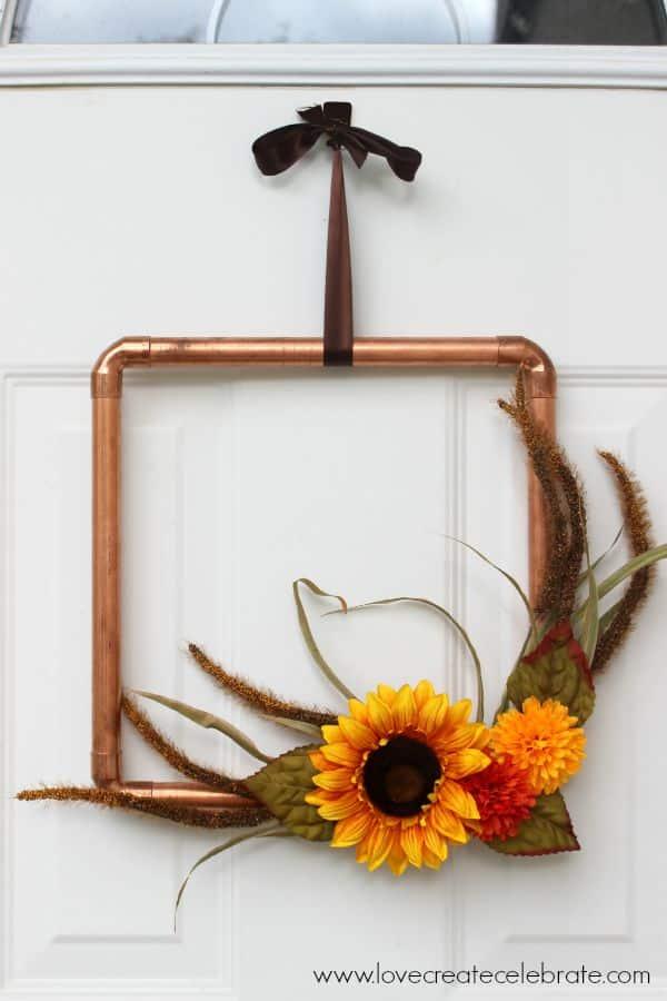 Fall DIY wreath ideas - copper pipe fall wreath
