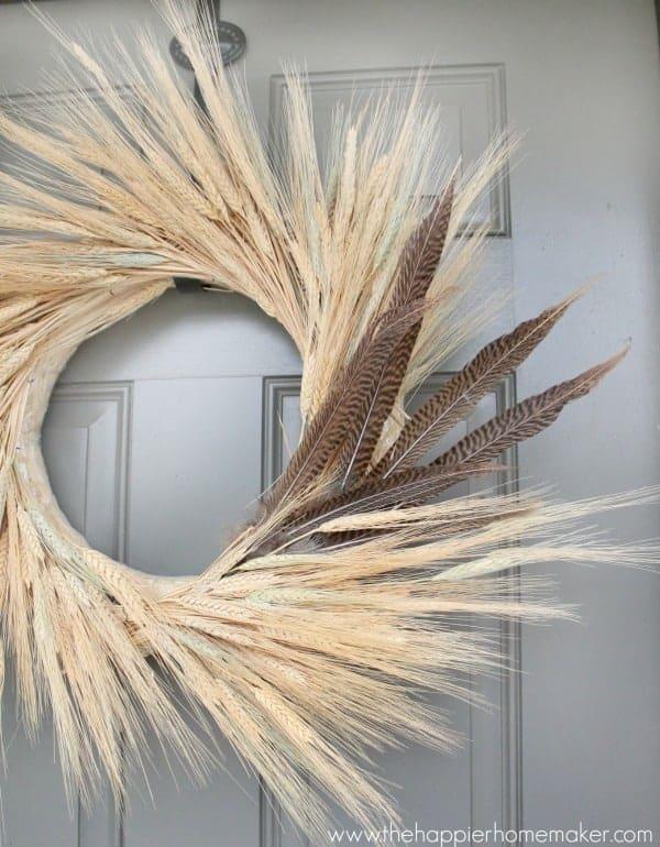 Fall DIY wreath ideas - wheat bundles and pheasant feathers