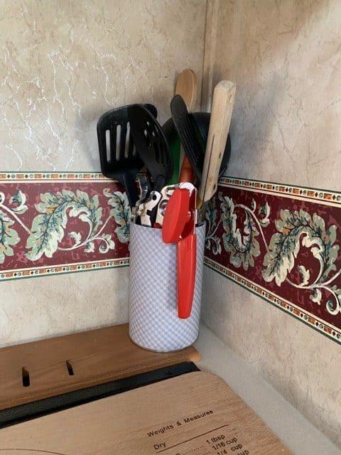 Small kitchen organization ideas - a DIY kitchen utensil holder