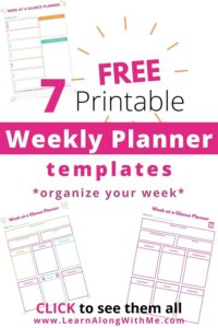 Week at a glance printable planners