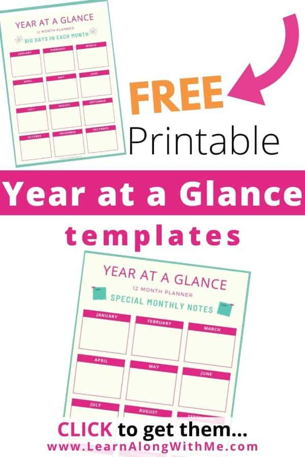 Blank Year at a Glance Printable templates