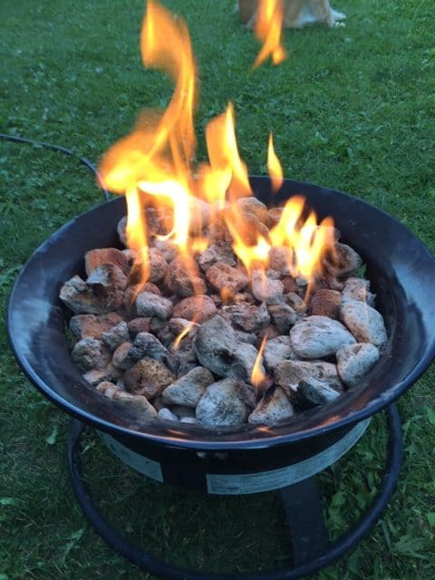 OUtland firebowl uses propane instead of wood so you can often use it in places that have a campfire ban.