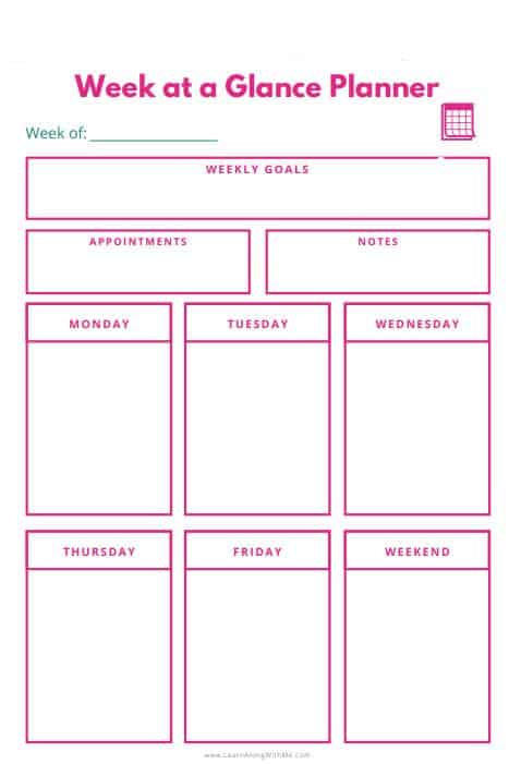 Week at a glance template printable  box style with pink color