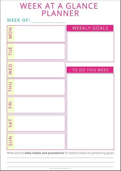 Week at a Glance Template Printable Pink .  It includes weekly goal setting, to do list for the week and daily text blocks.