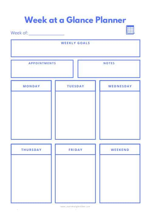 Free printable Weekly planner page Blue color with box style for days of the week