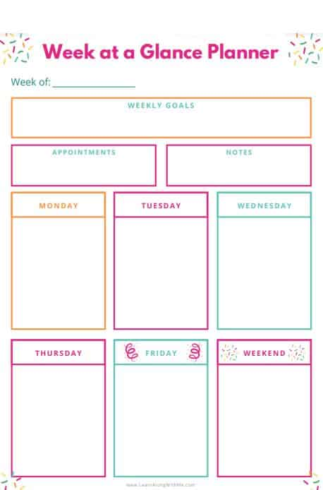 Free printable Weekly Planner template page with box style. It is a week at a glance type weekly planner