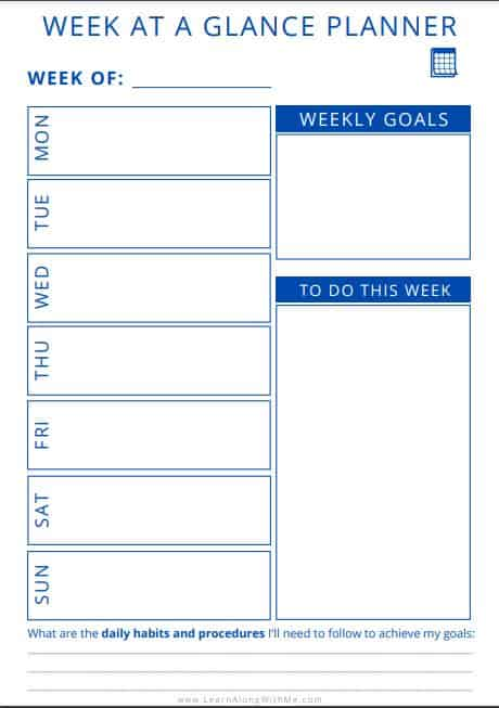 Week at a Glance Template Printable BLUE style PDF.