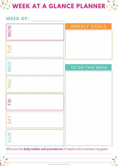Confetti - themed free printable weekly planner template page. It features a section for weekly goals, boxes for days of the week and to do list section