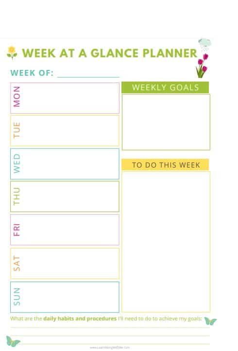 Week at a Glance Template Printable with Spring themed colors and graphics