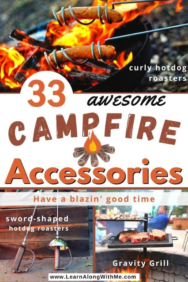 33 Awesome Campfire accessories includes the Gravity Grill, sword-shaped hotdog roasters, tripods for campfire cooking and more.