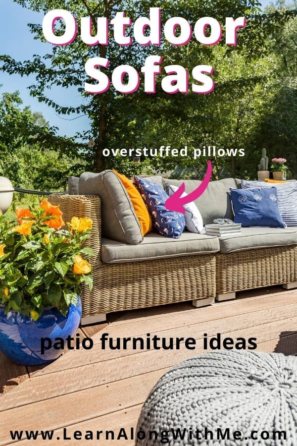 Outdoor sofas and loveseats are comfy patio furniture ideas