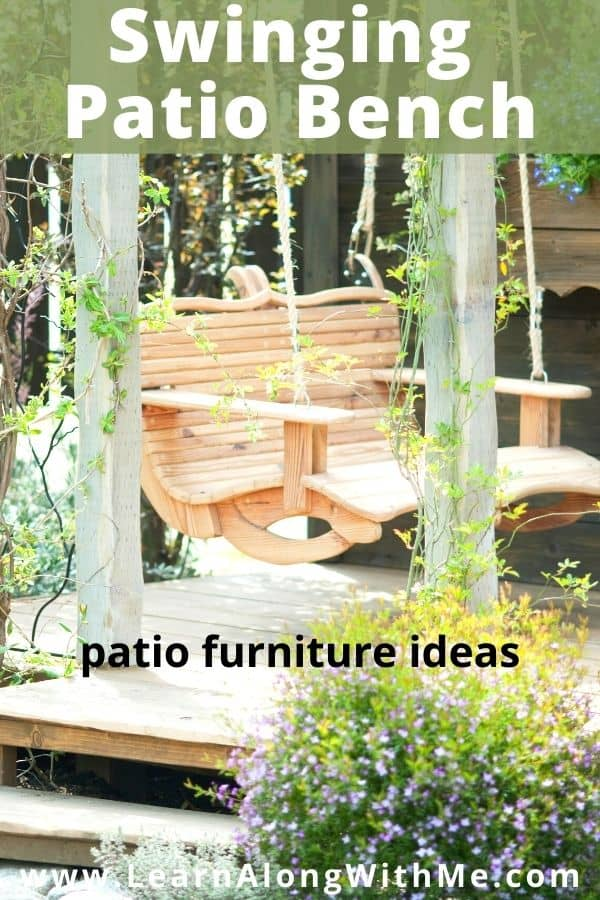 Swinging patio benches can be a relaxing patio furniture ideas