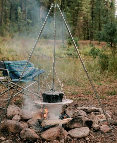 Tripods for cooking on campfire - adjustable campfire tripod by stansport