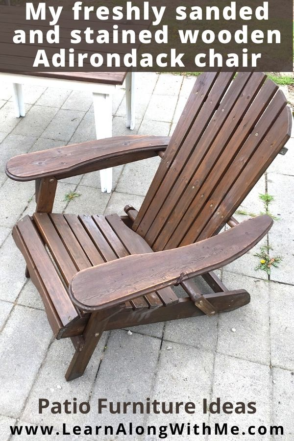 Wooden adirondack chair sanded and stained. It was a patio furniture refinishing project I did last year.