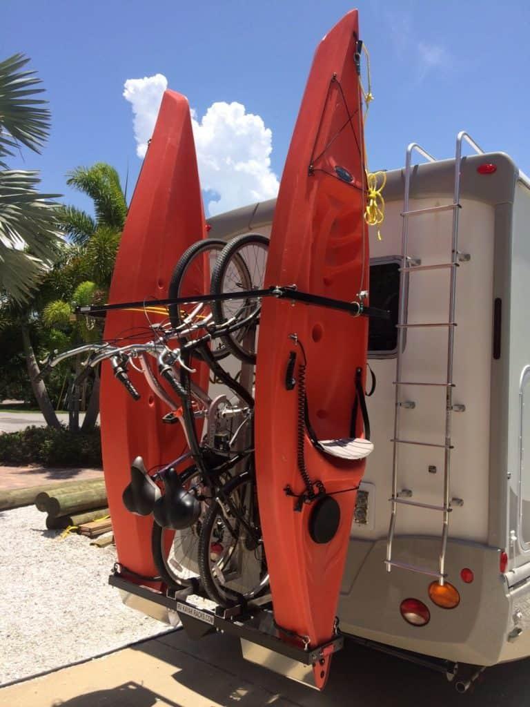 Vertical Kayak Rack and Bike rack for RV made by Yakups brand