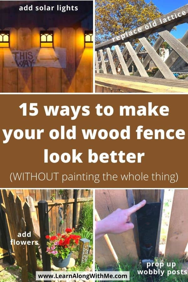 15 ways to improve the look of an old wooden fence without painting the whole thing. Includes fence art, some fence decorations, the fence mender and more..