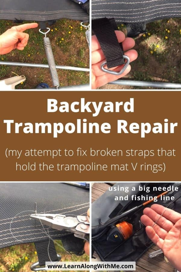 Backyard Trampoline Repairs - my attempt to fix broken the straps that hold the trampoline V rings using just a big needle and fishing line.
