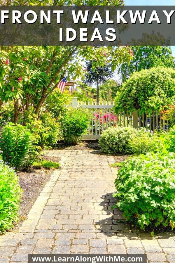 Front Walkway Ideas - paving stones with some ground cover crops growing between the cracks.