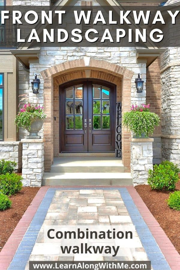 Front Walkway Ideas - a combination walkway featuring brick edging and pavers in the center.